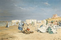 belebte strandpartie by frederic florian
