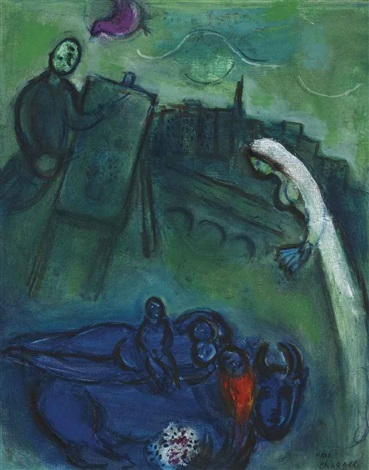 le pont neuf by marc chagall