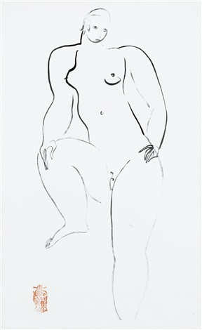 femme nue female nude by sanyu