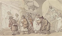 unloading a waggon at the woolpack, woolhampton, berkshire by thomas rowlandson