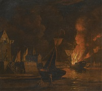 a ship ablaze at night in a town harbour by william marlow