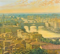 florence from piazzale michelangelo, evening sunlight by alan cotton