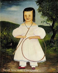 portrait of girl of color with a hoop and stick in a landscape by american school-southern (19)