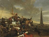 verteidigung der flagge durch die kavallerie by herman van lin