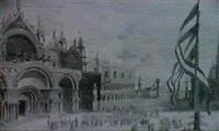 venedig. vor dem markusdom und dem dogenpalast hat sich einegrosse menschenmenge versammelt by emanuel stöckler