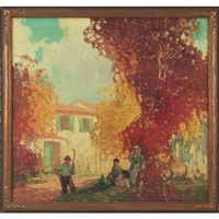 autumn landscape with figures by frederic m. grant