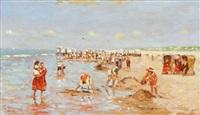 enfants jouant à la plage by cornelis koppenol