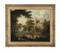 a wooded river landscape with a ruined abbey and two travellers on a path by john rathbone
