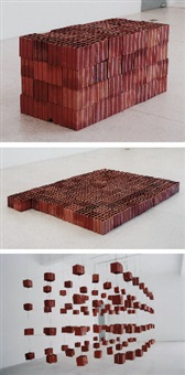 112 tijolos - sólido, líquido e gasoso (triptych) by damián ortega
