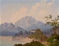 motiv aus der umgebung salzburgs mit blick auf den hohen göll und den untersberg by johann fischbach
