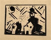 rathaus und neumond by lyonel feininger