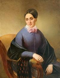portrait einer jungen frau im armlehnstuhl by friedrich krepp