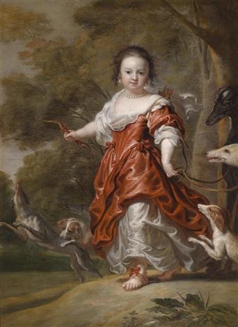 porträt eines jungen mädchens als diana eine prinzessin des hauses schleswig holstein gottorp by jürgen ovens