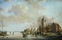 villagers carting firewood on a frozen river, a church beyond by a. de groote