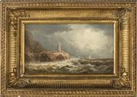 coastal scene with lighthouse by william trost richards