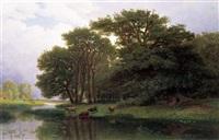 rivierlandschap met koeien by joseph quinaux