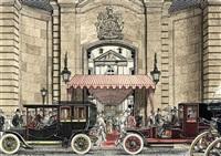 elegant figures arriving for a reception at the british embassy, paris (+ cars passing john lobb, bootmaker's, paris; 2 works) by leslie saalburg