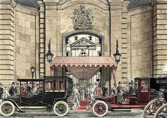 elegant figures arriving for a reception at the british embassy paris cars passing john lobb bootmakers paris 2 works by leslie saalburg