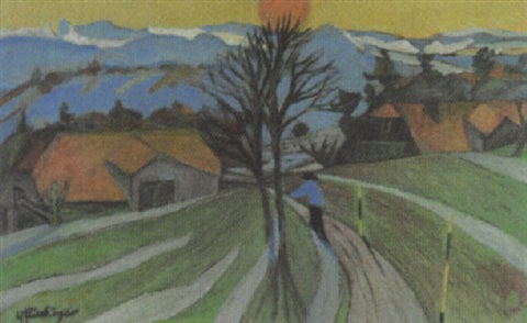 abendliche landschaft by willy flückiger