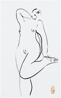 nu debout se tenant le pied (standing nude holding her foot) by sanyu