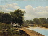 cows on a river bank (+ sheep grazing by a country road; 2 works) by charles grant davidson