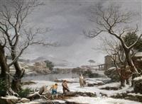 eine winterliche flusslandschaft mit holzfällern by giuseppe baccigaluppo