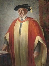 portrait of professor david mitrany, three-quarter-length, in academic robes, his hand resting on some papers by ena limebeek