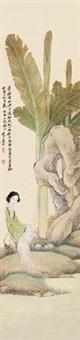 芭蕉仕女 by jiang xun