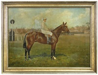 a bay racehorse with jockey up by clarence hailey