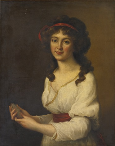 portrait of a lady holding a portrait miniature by elisabeth louise vigée le brun