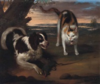 a spaniel protecting his catch from a cat by adriaen beeldemaker