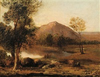 landscape with shepherd and cows by john linnell