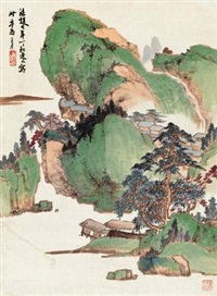 仿赵大年青绿山水 by xiao junxian