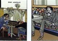 wiener cafe: die schachspieler, nr.531 (+ wiener cafe: der litterat, nr.532; 2 postcards) by moritz jung