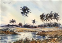 hurricane winds - a view of the indian river, new smyrna beach, florida by james a. camlin