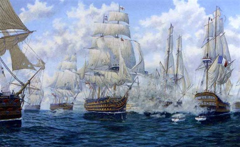 hms victory breaking through the enemy line at trafalgar 21st october 1805 by andrew bennett