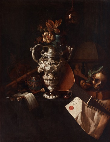 a vanitas still life with regalia, musical instruments, a reflecting imperial orb, a skull and bones and a charter group by pieter gerritsz van roestraten