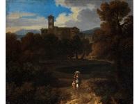 landschaft mit klostergebäude und campanile by gaspard dughet
