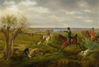 count halm on his basedow estate with seedorf manor and the malachinersee in the distance by albrecht adam