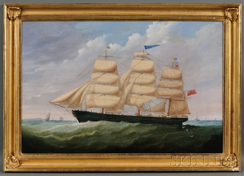 portrait of the british ship james duncan sailing in coastal waters by anglo american school 19
