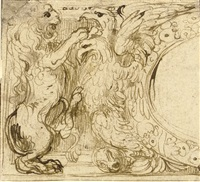 a lion and an eagle (design for the left side of a cartouche) by perino del vaga