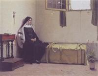 ung nonne fordybet i tanker på sit kammer betragter sommerfuglene by luigi busi