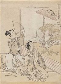 ein junger mann und eine frau sitzen in einem raum (from fûryû mitate zashiki hakkei) (chûban) by isoda koryusai