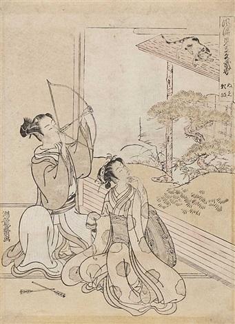 ein junger mann und eine frau sitzen in einem raum from fûryû mitate zashiki hakkei chûban by isoda koryusai