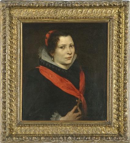ritratto di dama con nastro di seta rossa e croce by sir anthony van dyck