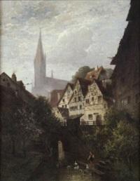 szenerie in der altstadt von esslingen mit den typischen hochaufragende und schmalen fachwerkhäusern by reichenbach