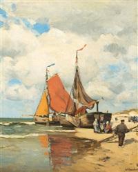 fischer am holländischen strand by wilhelm bartsch