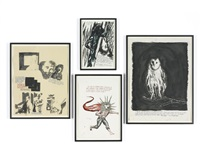 i. no title (i preface with) ii. no title (the fire of...) iii. no title (other men's lines...) iv. no title (but i have...) (4 works) by raymond pettibon