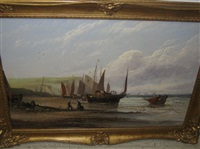 fishing vessels on the coast of hastings by william rogers