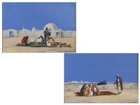 nordafrikanische ansichten mit arabischen staffagefiguren (pair) by duncan webb